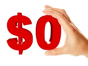 Zero dollar sign holding by female hand, isolated over white background
